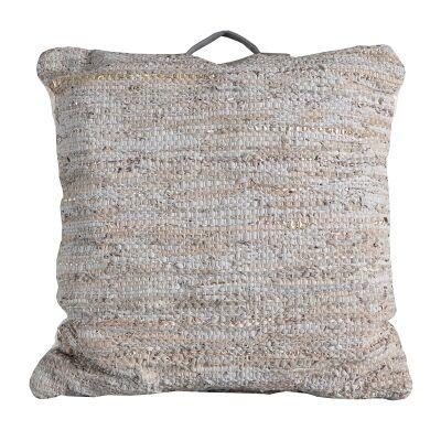 Pluto Braided Leather Floor Cushion, Cream / Grey