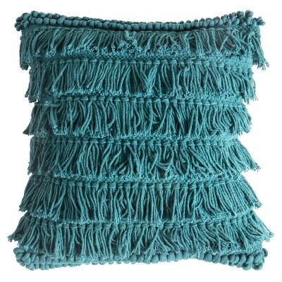 Tallara Cotton Fringed Scatter Cushion, Teal