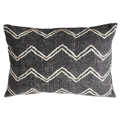 Ruby Zig Zag Feather Filled Cotton Lumbar Cushion