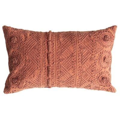 Pippa Stonewashed Cotton Lumbar Cushion, Burnt Orange