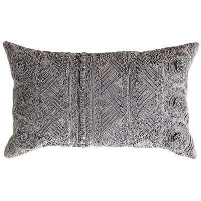 Pippa Stonewashed Cotton Lumbar Cushion, Slate