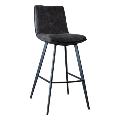 Polly Faux Leather Counter Stool, Dark Grey