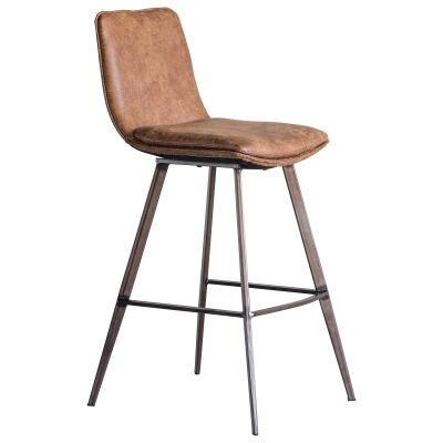 Polly Faux Leather Counter Stool, Tan