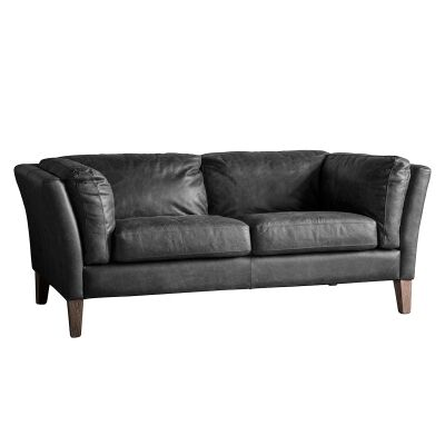 Everton Vintage Leather Sofa, 2 Seater, Charcoal