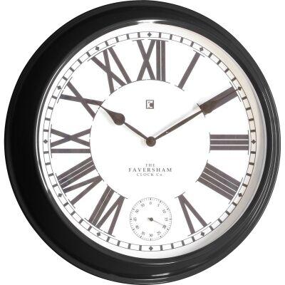 Cairo Metal Round Wall Clock, 52cm, Black