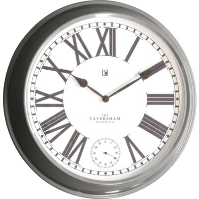 Cairo Metal Round Wall Clock, 52cm, Grey