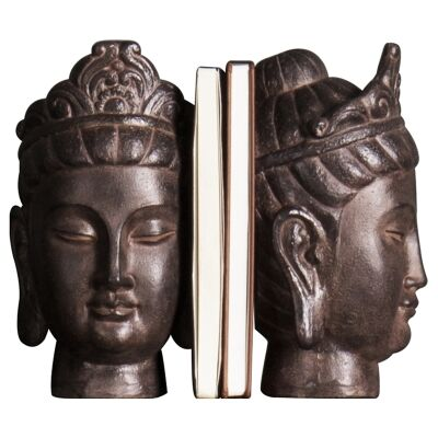 Saffron Buddha Head Bookend Set