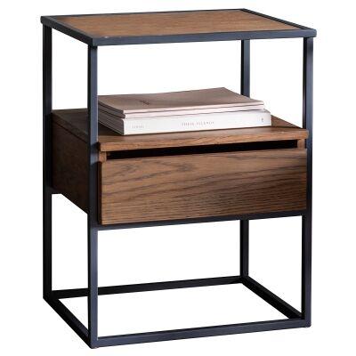 Mylee Pine Timber & Metal Side Table, Light Walnut