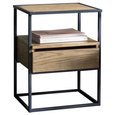 Mylee Pine Timber & Metal Side Table, Light Oak