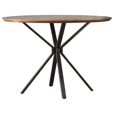Brenna Wood & Metal Round Dining Table, 110cm