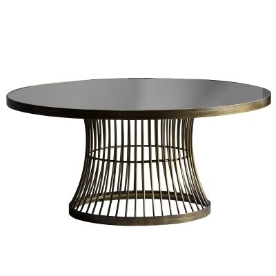 Paddy Metal Round Coffee Table, 90cm, Black / Antique Brass