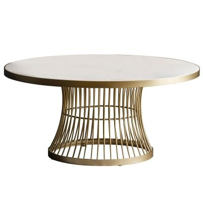 Paddy Metal Round Coffee Table, 90cm, White / Champagne Gold