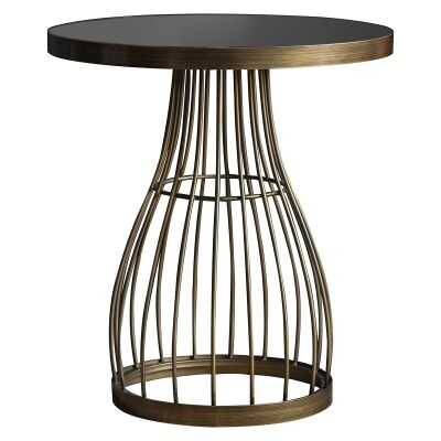 Paddy Metal Round Side Table, Black / Antique Brass