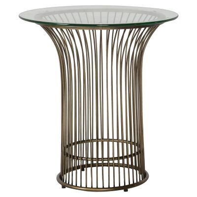 Zane Glass Top Metal Round Side Table