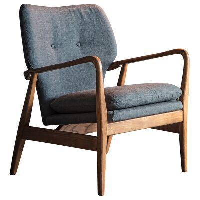 Jepson Fabric & Oak Timber Armchair, Grey