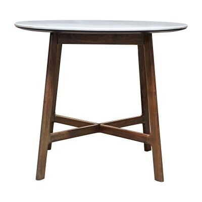 Burford Marble Topped Acacia Timber Round Dining Table, 90cm
