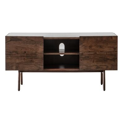 Burford Marble Topped Acacia Timber 2 Door TV Unit, 136cm