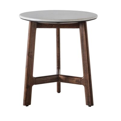 Burford Marble Topped Acacia Timber Round Side Table