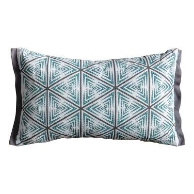 Holum Geo Cotton Lumbar Cushion, Duck Egg / Grey