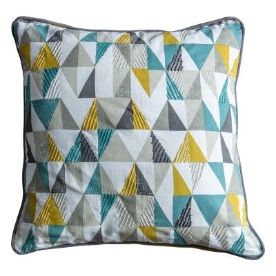 Seren Triangle Cotton Scatter Cushion, Teal / Ochre