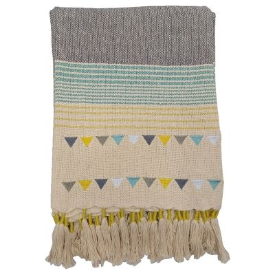 Gracie Knitted Cotton Throw, Teal / Grey