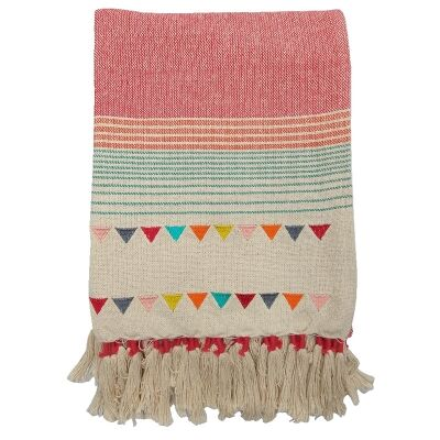 Gracie Knitted Cotton Throw, Teal / Coral
