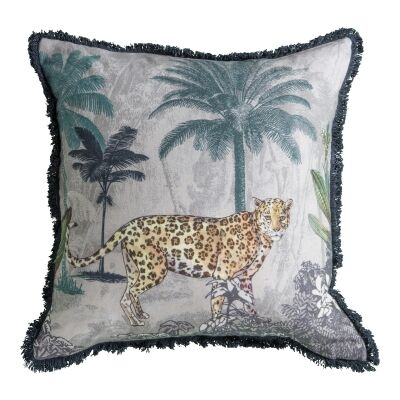 Leopard Forest Printed Cotton Scatter Cushion