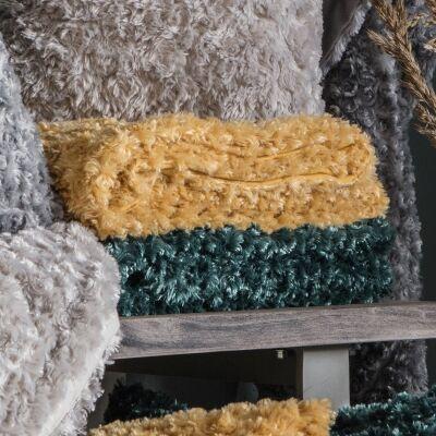 Walon Faux Fur Throw, 170x130cm, Ochre