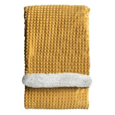 Wade Cubic Embossed Sherpa Throw, 177x152cm, Ochre