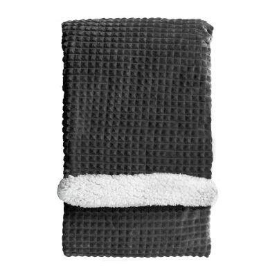 Wade Cubic Embossed Sherpa Throw, 177x152cm, Charcoal
