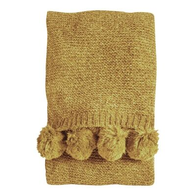 Poccon Knitted Chenille Throw, 170x130cm, Ochre