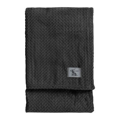 Kilburn & Scott Chevron Flannel Fleece Throw, 180x140cm, Charcoal