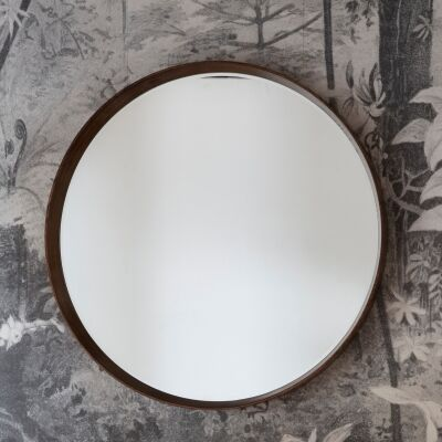 Kalem Wooden Frame Round Wall Mirror, 100cm, Walnut