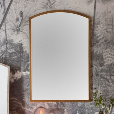 Hamill Metal Frame Arch Wall Mirror, 90cm, Antique Gold