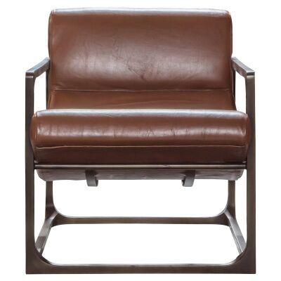 Vena Leather & Metal Lounge Armchair, Brown