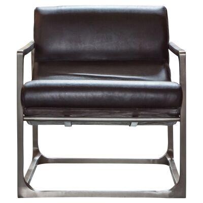 Vena Leather & Metal Lounge Armchair, Black