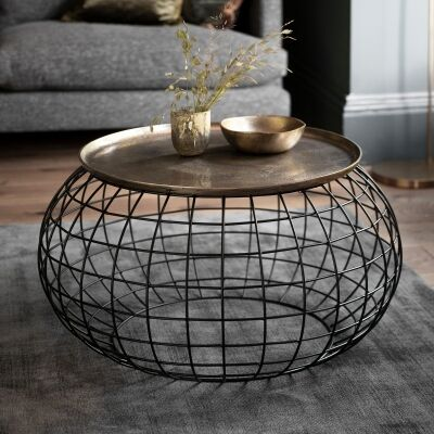 Randall Metal Round Tray Top Coffee Table, 80cm, Antique Gold