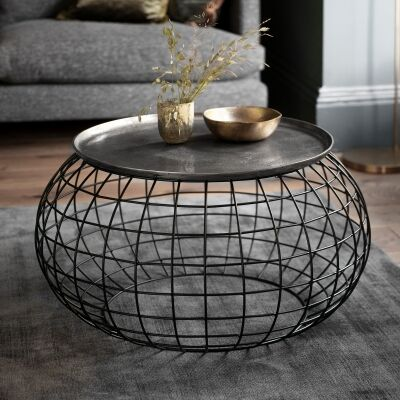 Randall Metal Round Tray Top Coffee Table, 80cm, Antique Silver
