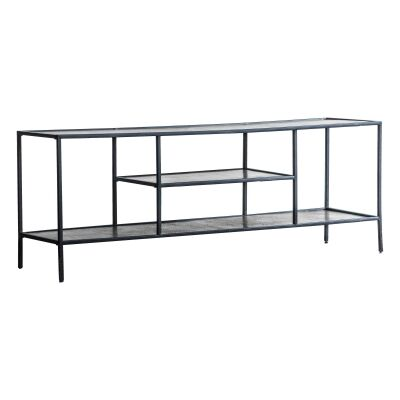 Harison Metal TV Unit, 120cm, Antique Silver