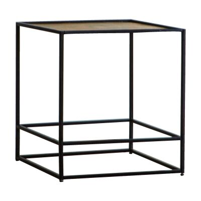 Harison Metal Square Side Table, Antique Gold