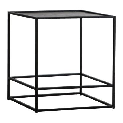 Harison Metal Square Side Table, Antique Silver