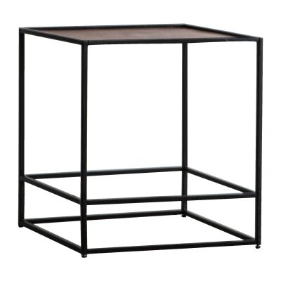 Harison Metal Square Side Table, Antique Copper