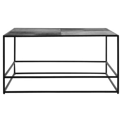 Harison Metal Square Coffee Table, Antique Silver