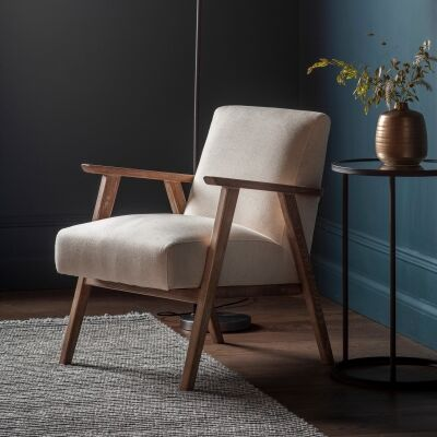 Nowa Linen & Timber Armchair, Oatmeal