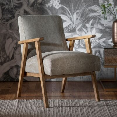 Nowa Linen & Timber Armchair, Pebble