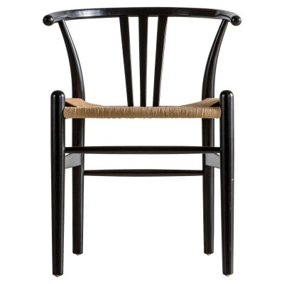 Waryn Elm Timber Dining Chair, Set of 2, Black