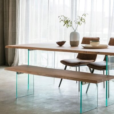 Ferdo Acacia Timber & Glass Dining Table, 240cm
