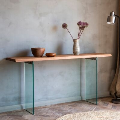 Ferdo Acacia Timber & Glass Console Table, 160cm