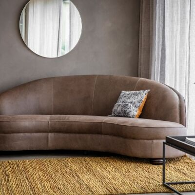 Saxonny Leather Sofa, 3 Seater, Granite