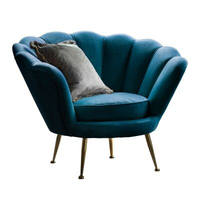 Raym Velvet Fabric Accent Chair, Inky Blue